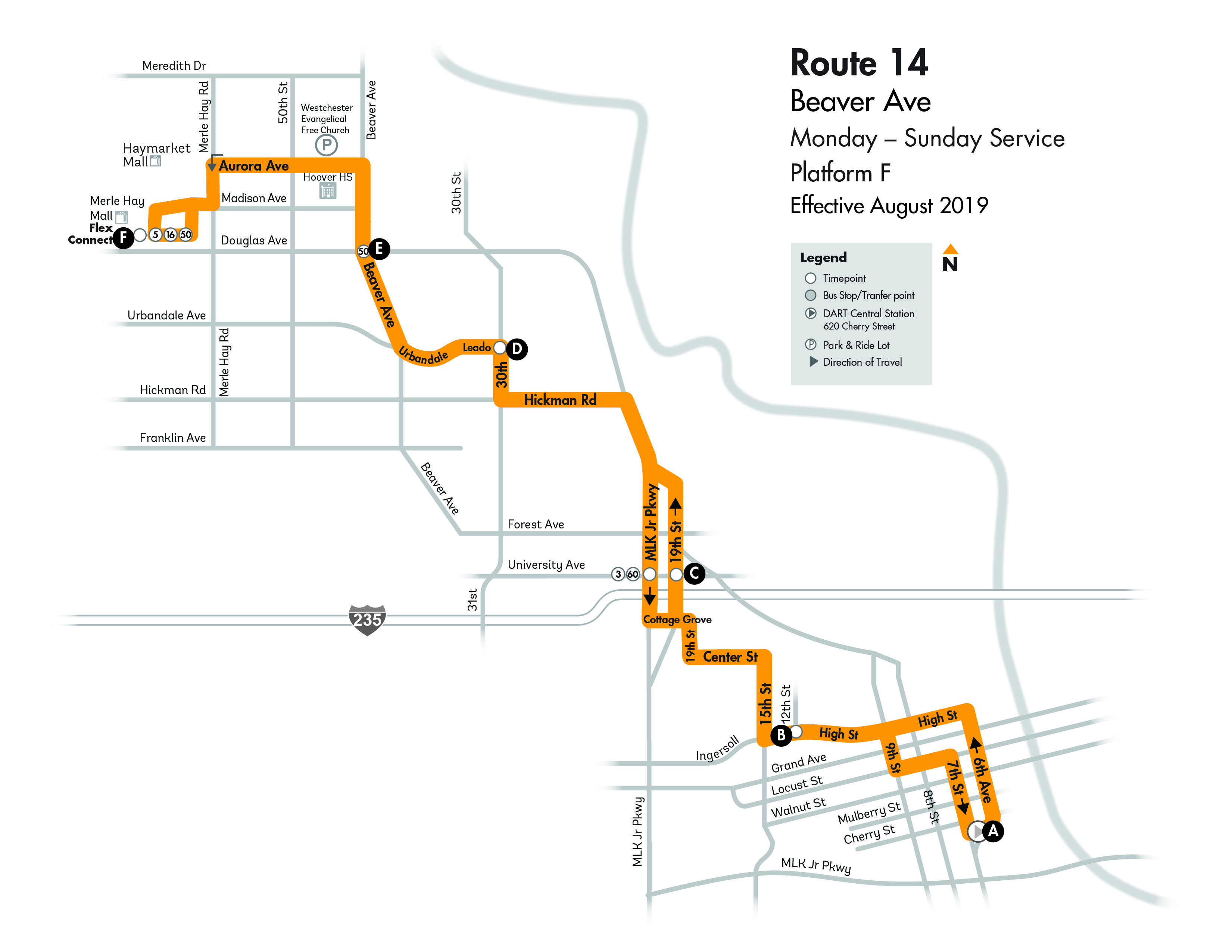 DART Local Route 14 - Beaver Map