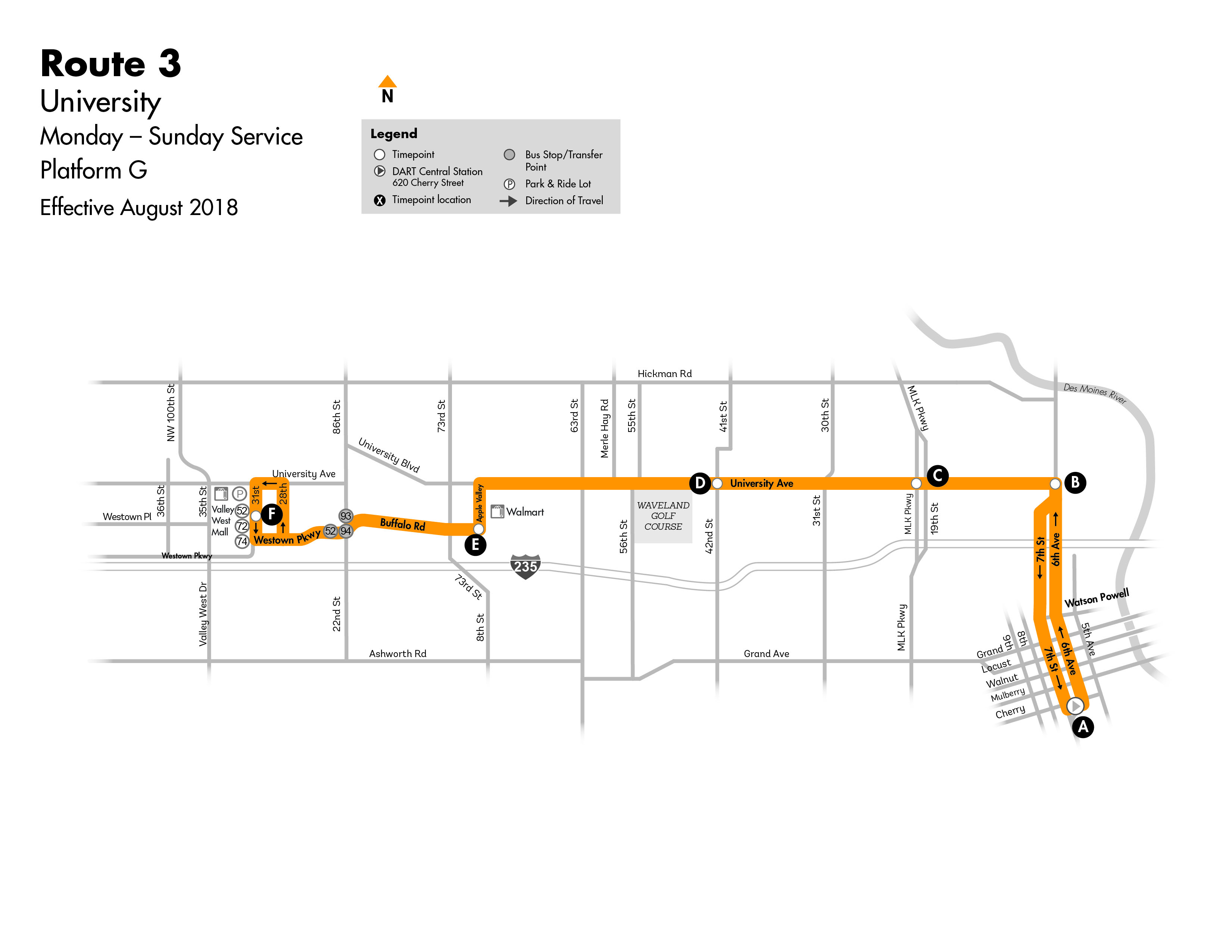 DART Local Route 3 - University Map