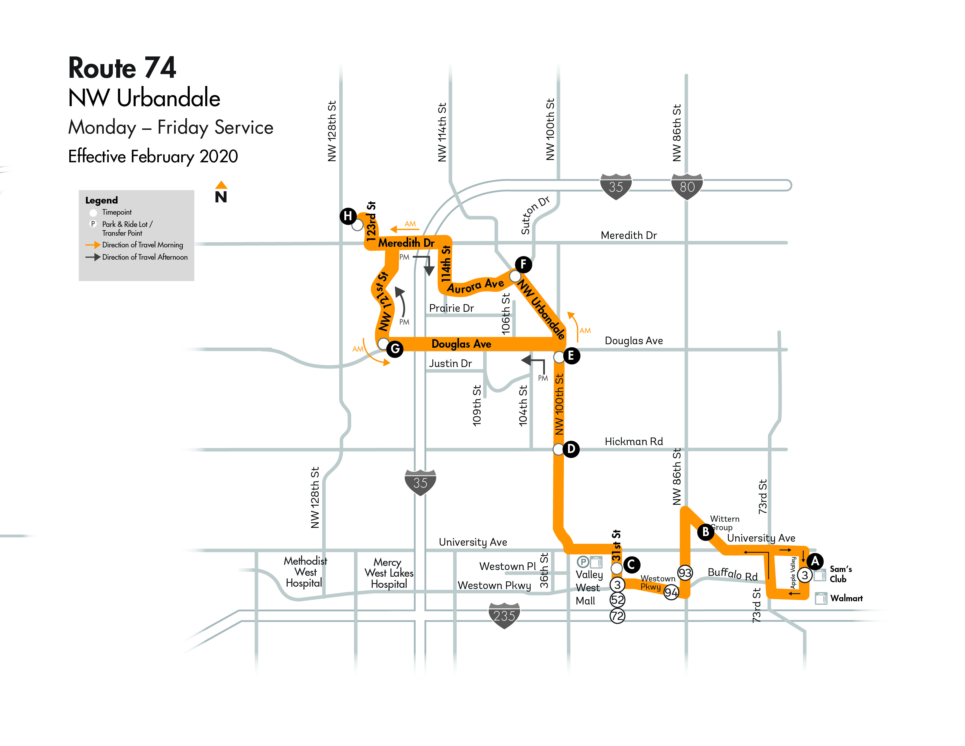 DART Flex Route 74 - NW Urbandale Map