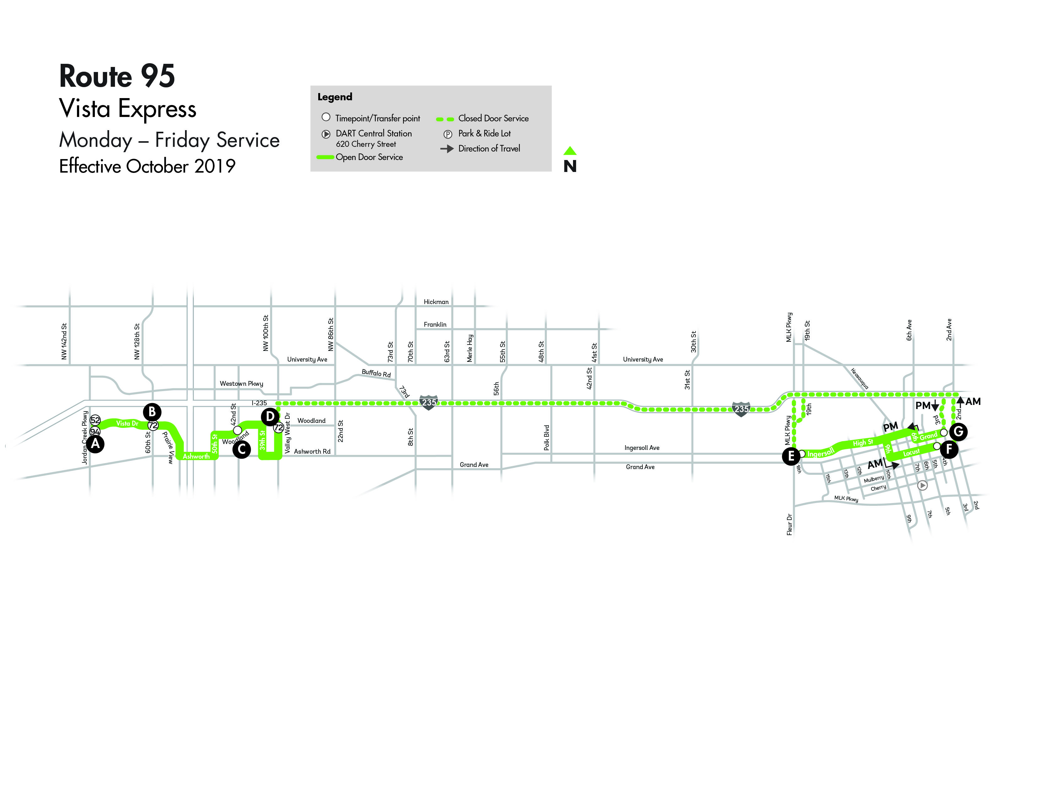 DART Express Route 95 - Vista Map