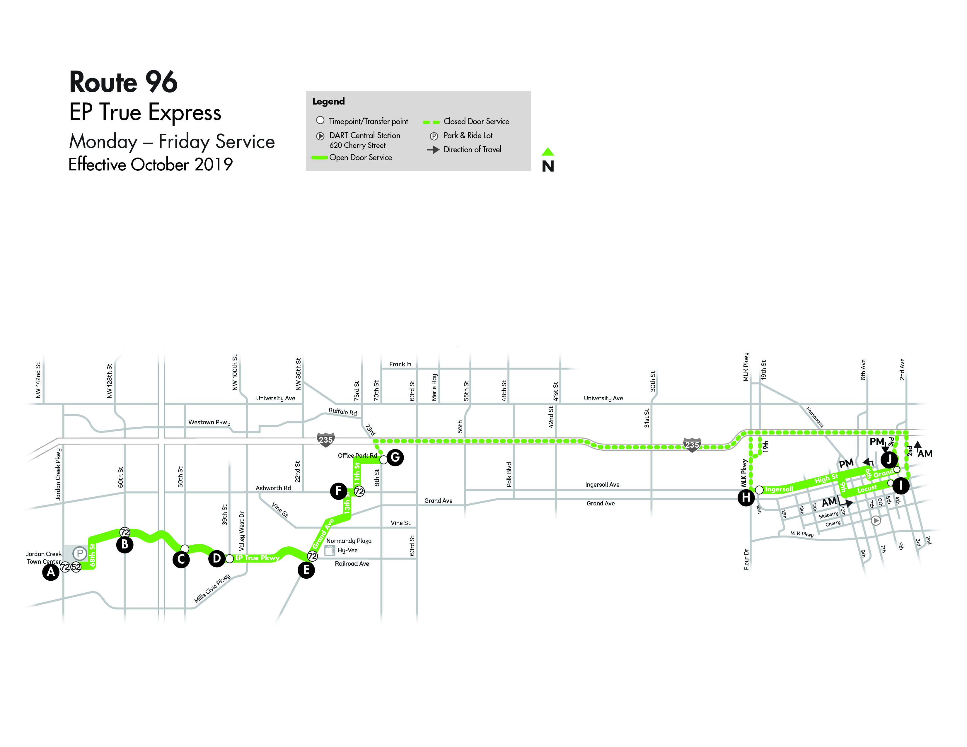 DART Express Route 96 - EP True Map