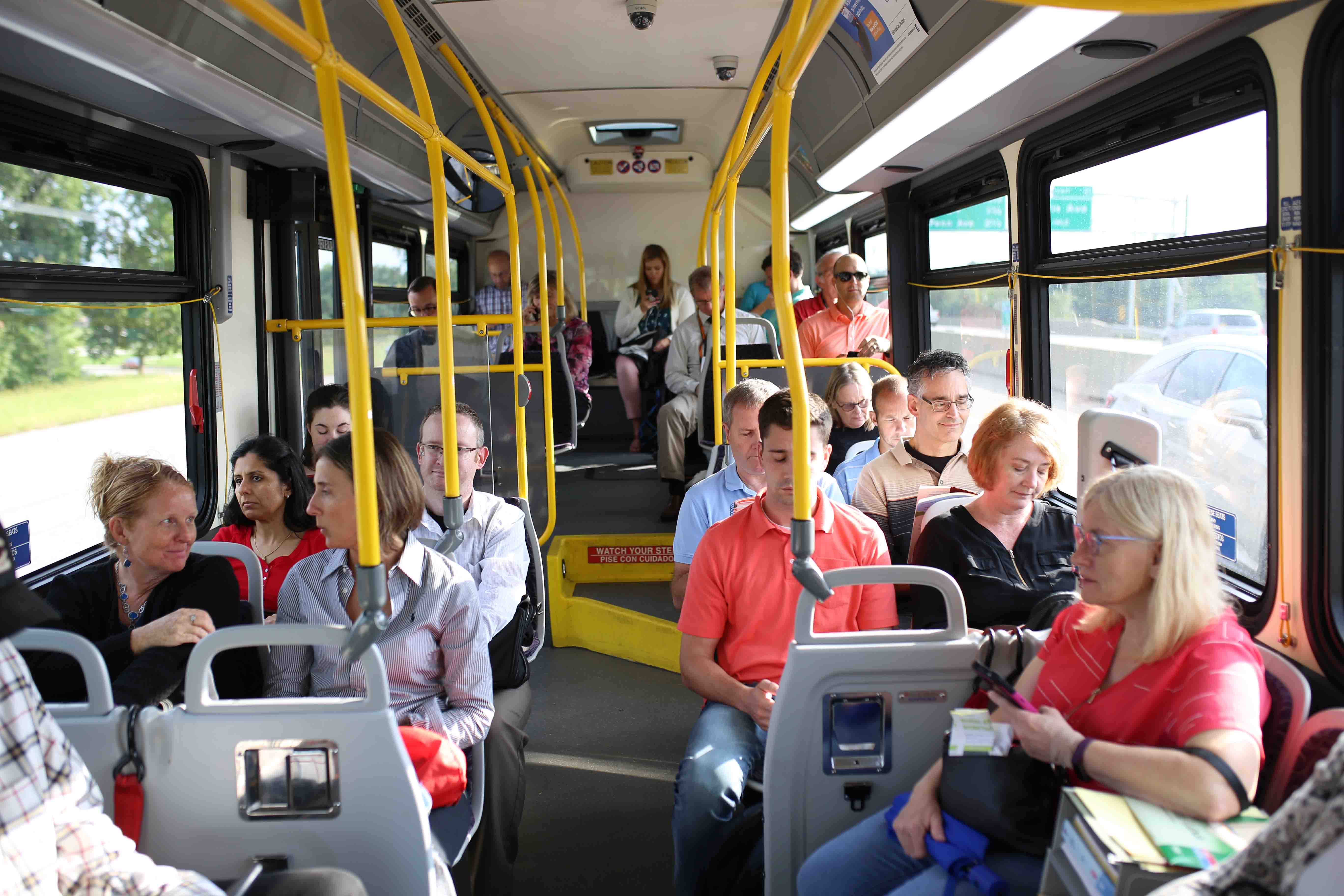 Inside look at a DART bus full of riders.