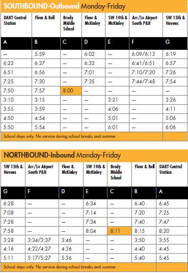 Image of schedule for Local Route 8 showing example of DMPS school service time to Brody Middle School.